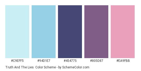 Truth and the Lies - Color scheme palette thumbnail - #C9EFF5 #94D1E7 #454775 #805D87 #EA9FBB