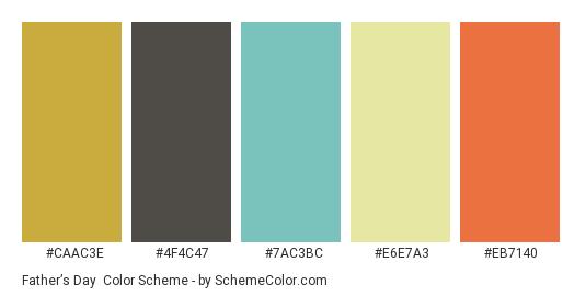 Father's Day - Color scheme palette thumbnail - #CAAC3E #4F4C47 #7AC3BC #E6E7A3 #EB7140