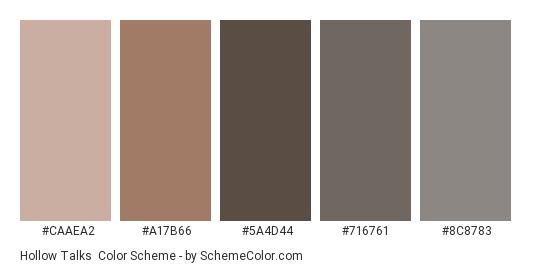 Hollow Talks - Color scheme palette thumbnail - #CAAEA2 #A17B66 #5A4D44 #716761 #8C8783