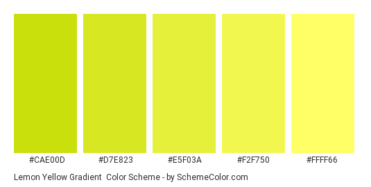 Lemon Yellow Gradient - Color scheme palette thumbnail - #CAE00D #D7E823 #E5F03A #F2F750 #FFFF66