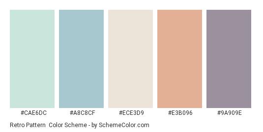 Retro Pattern - Color scheme palette thumbnail - #CAE6DC #A8C8CF #ECE3D9 #E3B096 #9A909E