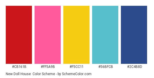 New Doll House - Color scheme palette thumbnail - #CB161B #FF5A9B #F5CC11 #56BFCB #2C4B8D