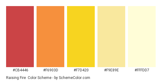 Raising Fire - Color scheme palette thumbnail - #CB4446 #F6903D #F7D420 #F9E89E #FFFDD7