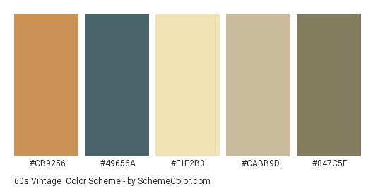 60s Vintage - Color scheme palette thumbnail - #CB9256 #49656A #F1E2B3 #CABB9D #847C5F