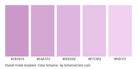Pastel Violet Gradient - Color scheme palette thumbnail - #CB99C9 #D4A7D3 #DEB5DE #E7C3E8 #F0D1F2