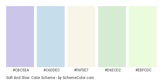 Soft and Slow - Color scheme palette thumbnail - #CBC5EA #C6DDEC #F6F5E7 #D6ECD2 #EBFCDC