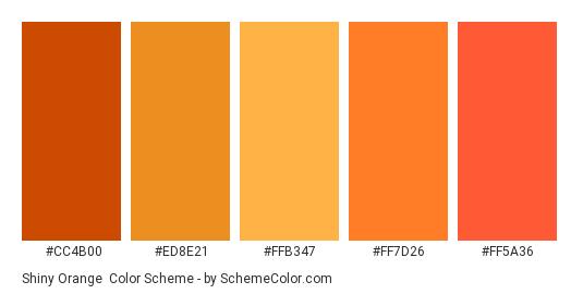 Shiny Orange - Color scheme palette thumbnail - #CC4B00 #ED8E21 #FFB347 #FF7D26 #FF5A36