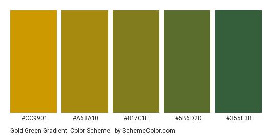 Gold-Green Gradient - Color scheme palette thumbnail - #CC9901 #A68A10 #817C1E #5B6D2D #355E3B