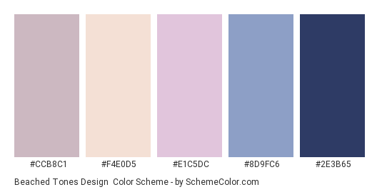 Beached Tones Design - Color scheme palette thumbnail - #CCB8C1 #F4E0D5 #E1C5DC #8D9FC6 #2E3B65