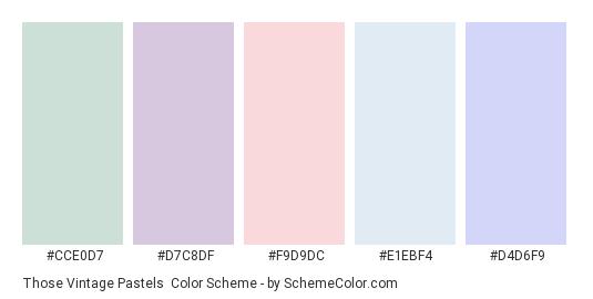 Those Vintage Pastels - Color scheme palette thumbnail - #CCE0D7 #D7C8DF #F9D9DC #E1EBF4 #D4D6F9