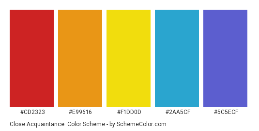 Close Acquaintance - Color scheme palette thumbnail - #CD2323 #E99616 #F1DD0D #2AA5CF #5C5ECF