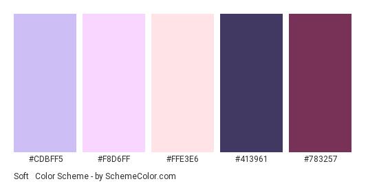Soft & Dark - Color scheme palette thumbnail - #CDBFF5 #F8D6FF #FFE3E6 #413961 #783257