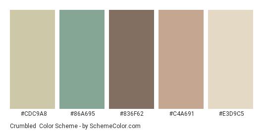 Crumbled - Color scheme palette thumbnail - #CDC9A8 #86A695 #836F62 #C4A691 #E3D9C5