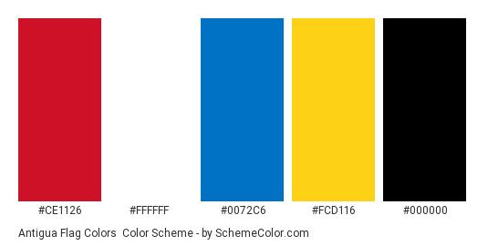 Antigua Flag Colors - Color scheme palette thumbnail - #CE1126 #FFFFFF #0072C6 #FCD116 #000000