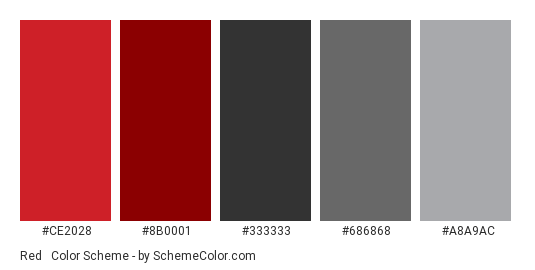 Red & Metallic Silver - Color scheme palette thumbnail - #CE2028 #8B0001 #333333 #686868 #A8A9AC