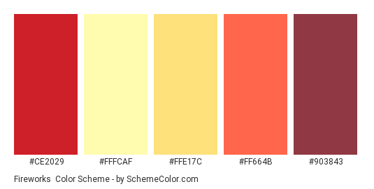 Fireworks - Color scheme palette thumbnail - #CE2029 #FFFCAF #FFE17C #FF664B #903843