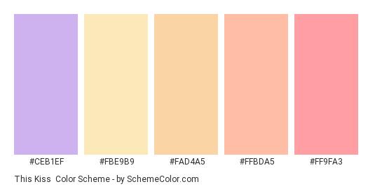 This Kiss - Color scheme palette thumbnail - #CEB1EF #FBE9B9 #FAD4A5 #FFBDA5 #FF9FA3