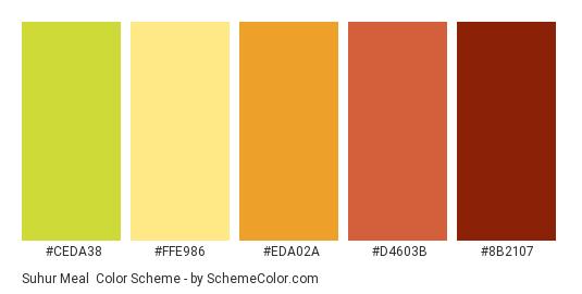Suhur Meal - Color scheme palette thumbnail - #CEDA38 #FFE986 #EDA02A #D4603B #8B2107