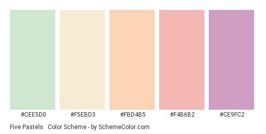Five Pastels #2 - Color scheme palette thumbnail - #CEE5D0 #F5EBD3 #FBD4B5 #F4B6B2 #CE9FC2