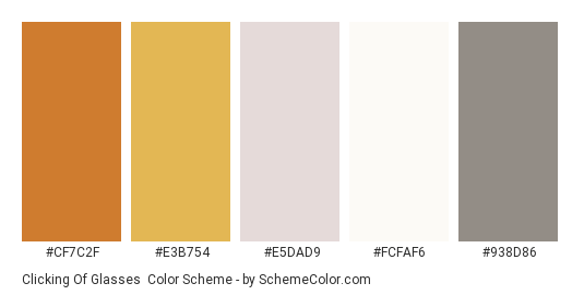 Clicking of Glasses - Color scheme palette thumbnail - #CF7C2F #E3B754 #E5DAD9 #FCFAF6 #938D86