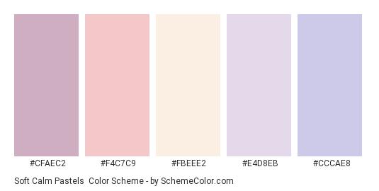 Soft Calm Pastels - Color scheme palette thumbnail - #CFAEC2 #F4C7C9 #FBEEE2 #E4D8EB #CCCAE8