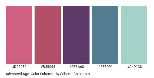 Advanced Age - Color scheme palette thumbnail - #D06082 #B35068 #5E3A68 #537D91 #A4D1C8