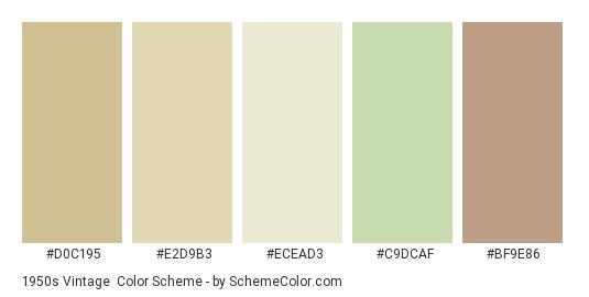 1950s Vintage - Color scheme palette thumbnail - #D0C195 #E2D9B3 #ECEAD3 #C9DCAF #BF9E86