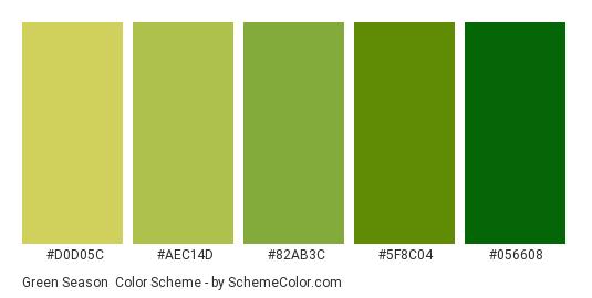 Green Season - Color scheme palette thumbnail - #D0D05C #AEC14D #82AB3C #5F8C04 #056608