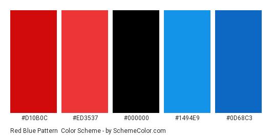Red Blue Pattern - Color scheme palette thumbnail - #D10B0C #ED3537 #000000 #1494E9 #0D68C3