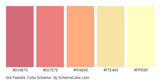 Hot Pastels - Color scheme palette thumbnail - #D16B75 #ED7E7E #FFAB80 #F7E4A5 #FFFDBF