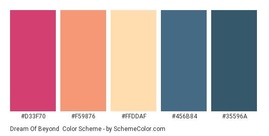 Dream of Beyond - Color scheme palette thumbnail - #D33F70 #F59876 #FFDDAF #456B84 #35596A
