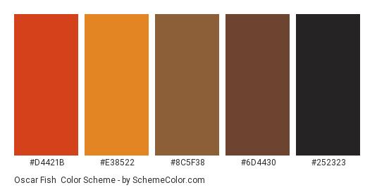 Oscar Fish - Color scheme palette thumbnail - #D4421B #E38522 #8C5F38 #6D4430 #252323