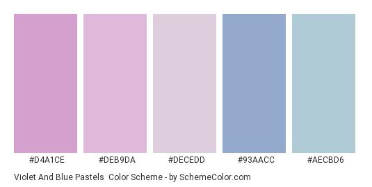 Violet and Blue Pastels - Color scheme palette thumbnail - #D4A1CE #DEB9DA #DECEDD #93AACC #AECBD6