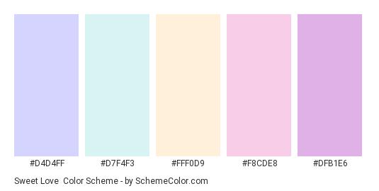 Sweet Love - Color scheme palette thumbnail - #D4D4FF #D7F4F3 #FFF0D9 #F8CDE8 #DFB1E6