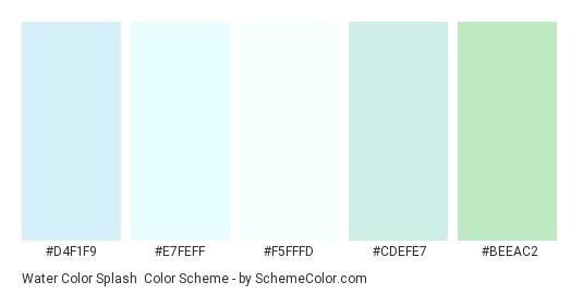 Water Color Splash - Color scheme palette thumbnail - #D4F1F9 #E7FEFF #F5FFFD #CDEFE7 #BEEAC2