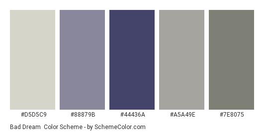 Bad Dream - Color scheme palette thumbnail - #D5D5C9 #88879b #44436a #a5a49e #7e8075