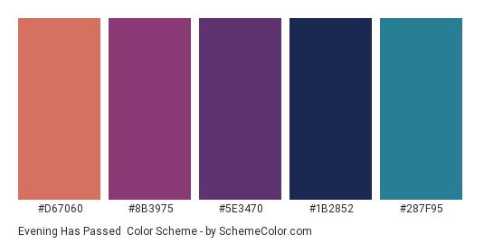 Evening Has Passed - Color scheme palette thumbnail - #D67060 #8B3975 #5E3470 #1B2852 #287F95