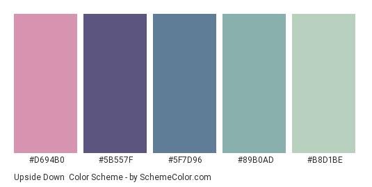 Upside Down - Color scheme palette thumbnail - #D694B0 #5B557F #5f7d96 #89B0AD #B8D1BE