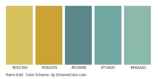 Retro Gold & Teal - Color scheme palette thumbnail - #D6C360 #CBA335 #5C888B #71A8A1 #8ABAAC