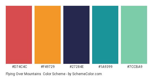 Flying Over Mountains - Color scheme palette thumbnail - #D74C4C #F49729 #27284E #1A9399 #7CCBA9