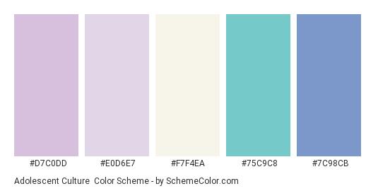Adolescent Culture - Color scheme palette thumbnail - #D7C0DD #E0D6E7 #F7F4EA #75C9C8 #7C98CB