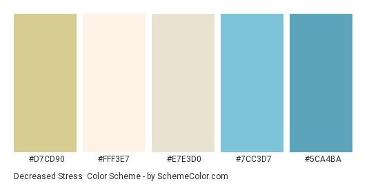 Decreased Stress - Color scheme palette thumbnail - #D7CD90 #FFF3E7 #E7E3D0 #7CC3D7 #5CA4BA