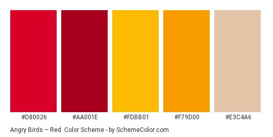 Angry Birds – Red - Color scheme palette thumbnail - #D80026 #AA001E #FDBB01 #F79D00 #E3C4A6