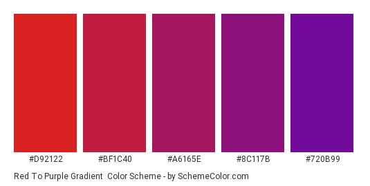 Red to Purple Gradient - Color scheme palette thumbnail - #D92122 #BF1C40 #A6165E #8C117B #720B99