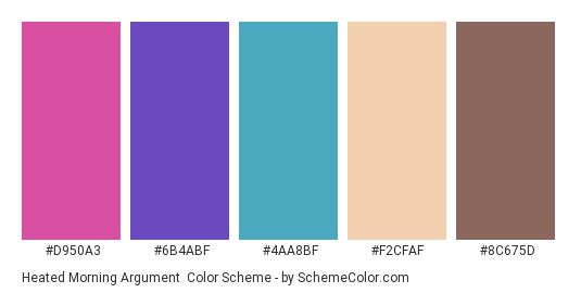 Heated Morning Argument - Color scheme palette thumbnail - #D950A3 #6B4ABF #4AA8BF #F2CFAF #8C675D