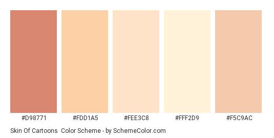 Skin of Cartoons - Color scheme palette thumbnail - #D98771 #FDD1A5 #FEE3C8 #FFF2D9 #F5C9AC