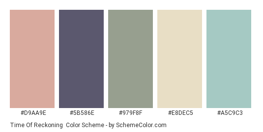 Time of Reckoning - Color scheme palette thumbnail - #D9AA9E #5B586E #979F8F #E8DEC5 #A5C9C3