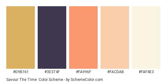 Savour the Time - Color scheme palette thumbnail - #D9B161 #3E374F #FA996F #FACDAB #FAF4E3