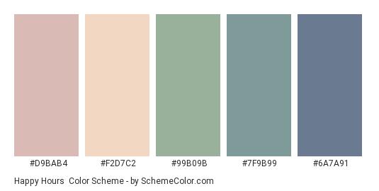 Happy Hours - Color scheme palette thumbnail - #D9BAB4 #F2D7C2 #99B09B #7F9B99 #6A7A91