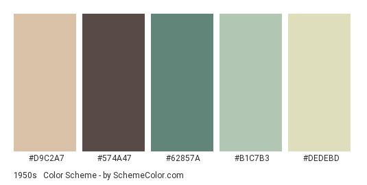 1950s #1 - Color scheme palette thumbnail - #D9C2A7 #574A47 #62857A #B1C7B3 #DEDEBD